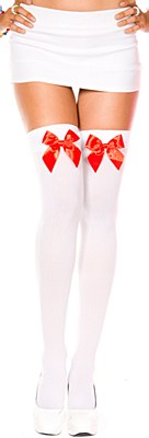 Satin Bow Opaque Thigh High Stockings - White And Red