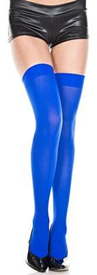 Opaque Nylon Thigh High Stockings - Royal Blue