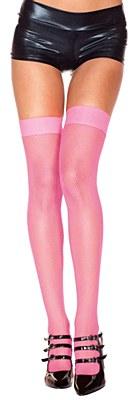 Fishnet Nylon Thigh High Stockings - Hot Pink