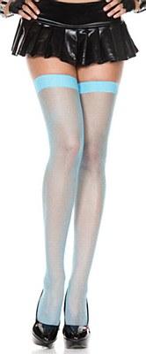 Fishnet Nylon Thigh High Stockings - Neon Blue