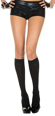 Opaque Knee High Black Nylon Socks
