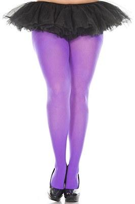 Opaque Nylon Plus Tights - Purple
