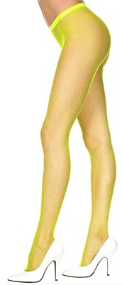 Fishnet Nylon Pantyhose Tights - Neon Yellow