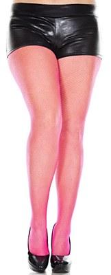 Fishnet Nylon Pantyhose Plus Tights - Pink