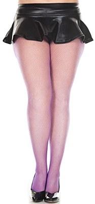 Fishnet Nylon Pantyhose Plus Tights - Purple