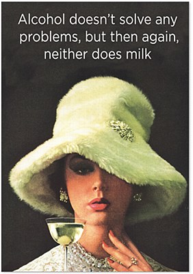 Birthday - Milk And Alcohol (Blank) Greeting Card