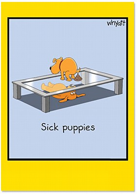 Get Well - Sick Puppies Greeting Card