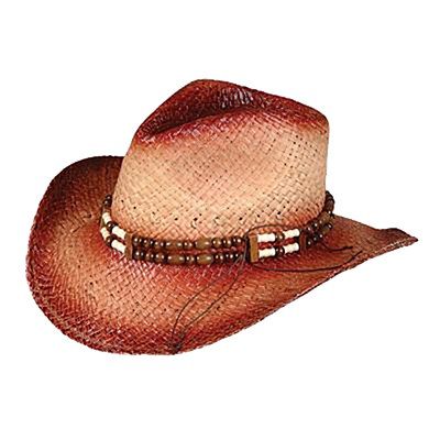 Beaded Straw Cowboy Hat