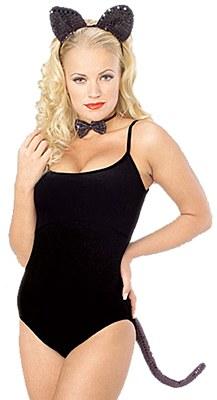 Black Sequin Cat Ears Accessory Set
