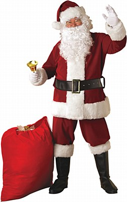 Santa Suit Crimson Regal Plush Adult Costume