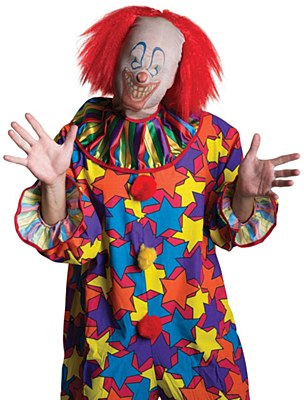 Scary Clown Mask And Wig Set