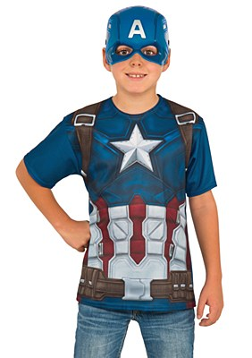 Captain America T-Shirt And Mask Child Costume Kit