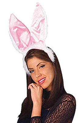 Deluxe Plush White And Pink Bunny Ears