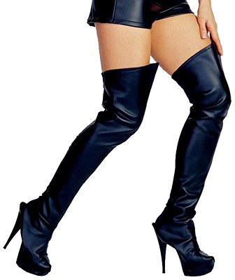 Leather Thigh High Black Boot Tops