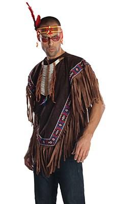 Native American Adult Poncho And Headband