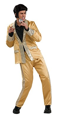 Elvis Gold Satin Suit Adult Costume