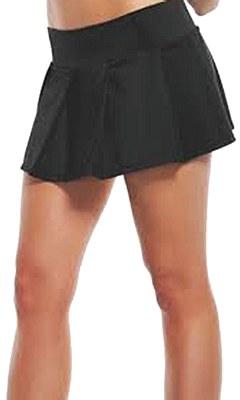 Basic Mini Pleated Solid Black Skirt