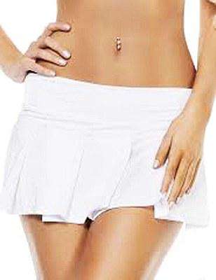 Basic Mini Pleated Solid White Skirt