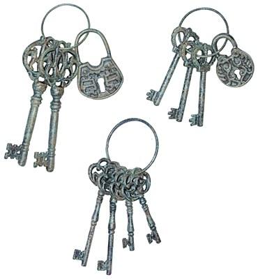 """Skeleton Iron Lock And Keys Set - Large 10"""""""