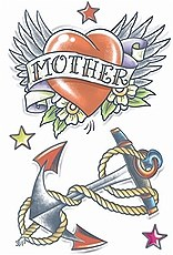 Vintage Mother Heart And Anchor Tattoo