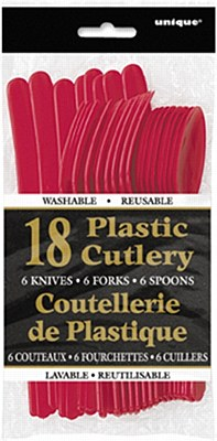 Plastic Cutlery - Red 18pc Assorted
