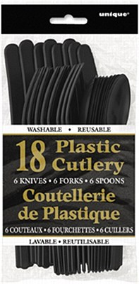 Plastic Cutlery - Black 18pc Assorted