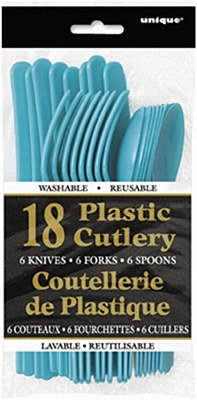 Plastic Cutlery - Teal 18pc Assorted