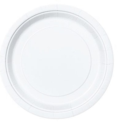 "White 9"" Solid Color Plates - 16 Count"