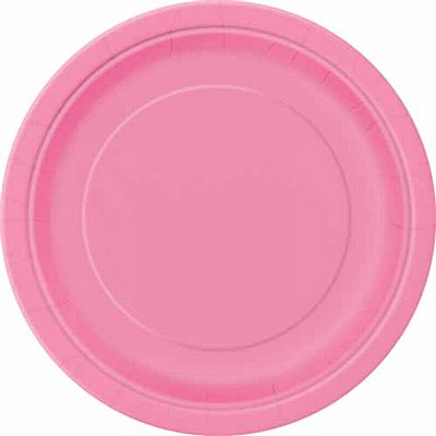 "Pink 9"" Solid Color Plates - 16 Count"