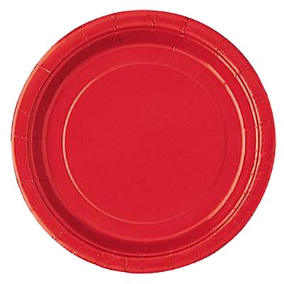 "Red 9"" Solid Color Plates - 16 Count"