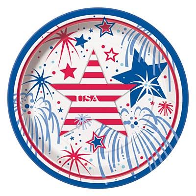 """Fireworks 7"""" Round Plates"""