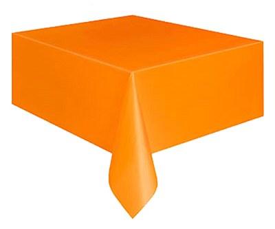 """Plastic Table Cover - 54""""x108"""" - Orange"""