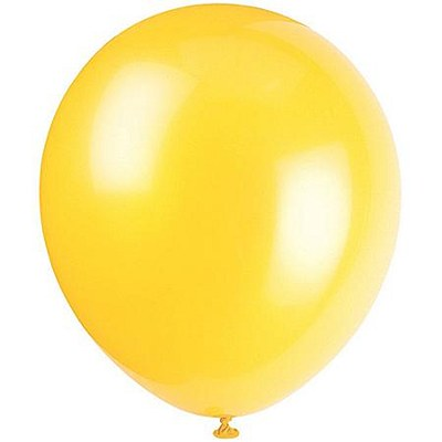 Solid Color Latex Sunburst Yellow Balloons - 10 Pack