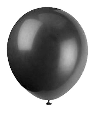 Solid Color Latex Jet Black Balloons - 10 Pack