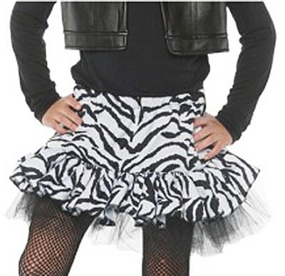 80's Child White Zebra Skirt
