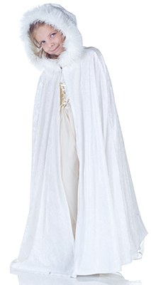 Panne Full Length Child White Hooded Cape