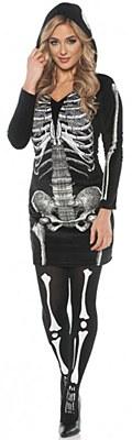 Skeleton Hooded Dress Adult Costume