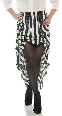 Steampunk Gathered Black And White Striped Adult Skirt