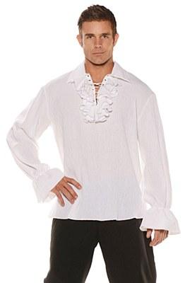 Pirate White Lace Up Ruffle Men's Shirt