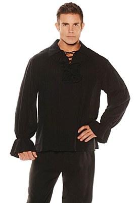 Pirate Black Lace Up Ruffle Men's Shirt