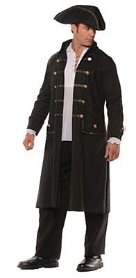 Faux Black Leather Men's Pirate Coat