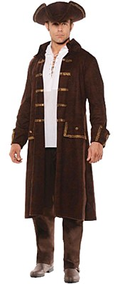 Faux Brown Leather Men's Pirate Coat