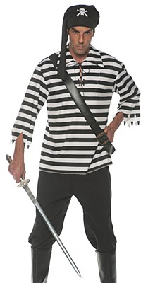 Pirate Matie Black And White Stripe Unisex Adult Shirt