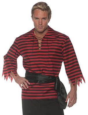 Pirate Matie Red And Black Stripe Unisex Adult Shirt