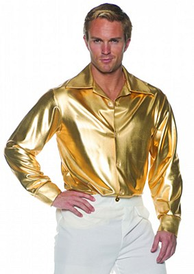 Metallic Men's Gold Disco Adult Shirt