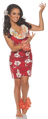 Hawaiian Aloha Red Floral Print Adult Dress