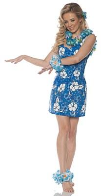 Hawaiian Blue Floral Print Adult Dress