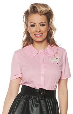 50's Ladies Poodle Top Pink Shirt