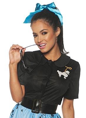 50's Ladies Poodle Top Black Shirt