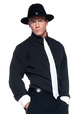 Gangster Pinstriped Adult Shirt And Tie